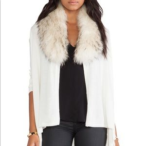 Alice and Olivia cream izzy fur collar cardigan